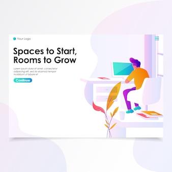 Ilustração da página de aterramento do espaço de trabalho
