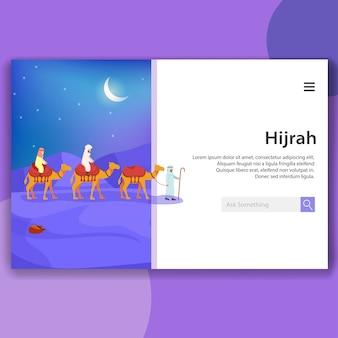 Ilustração da página de desembarque hijrah islâmica migrar significado movendo