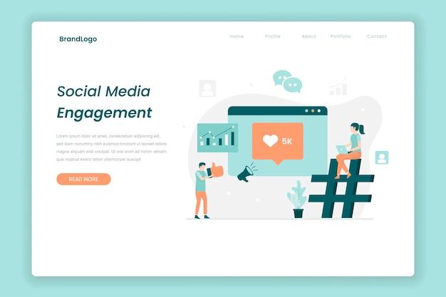 Ilustração da página de destino da ilustração do engajamento nas redes sociais ilustração para a página de destino dos sites