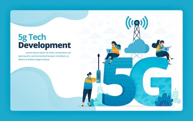 Ilustração da página de destino da tecnologia avançada 5g para desenvolvimento e gerenciamento de redes da internet