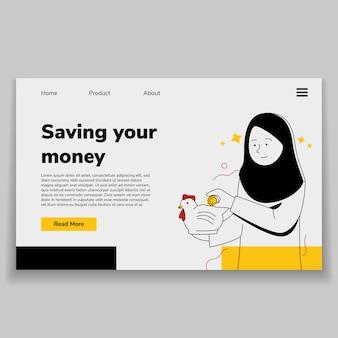 Ilustração da página de destino da web com hijab árabe economizando dinheiro