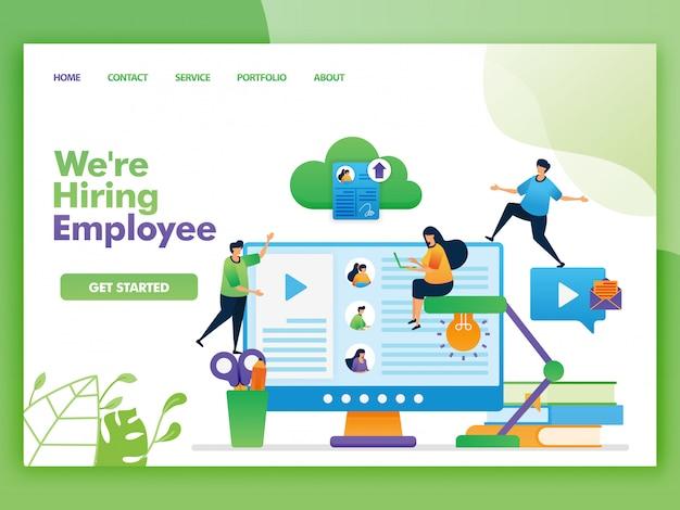 Ilustração da página de destino de que estamos contratando funcionários e vagas.