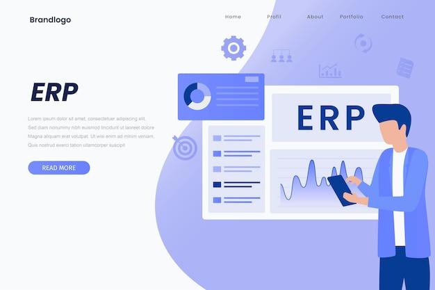 Ilustração da página de destino do erp enterprise resource planning