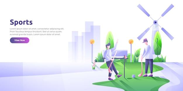 Ilustração da página de destino do golfe