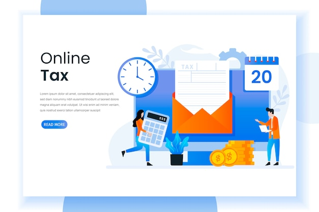 Ilustração da página de destino do imposto on-line