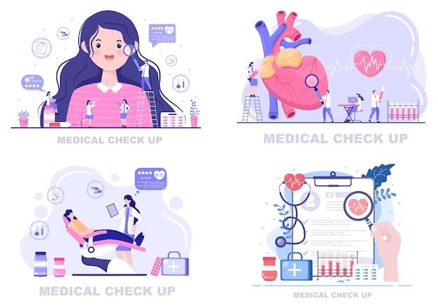 Ilustração da página de destino do plano de fundo do exame de saúde médica Vetor Premium