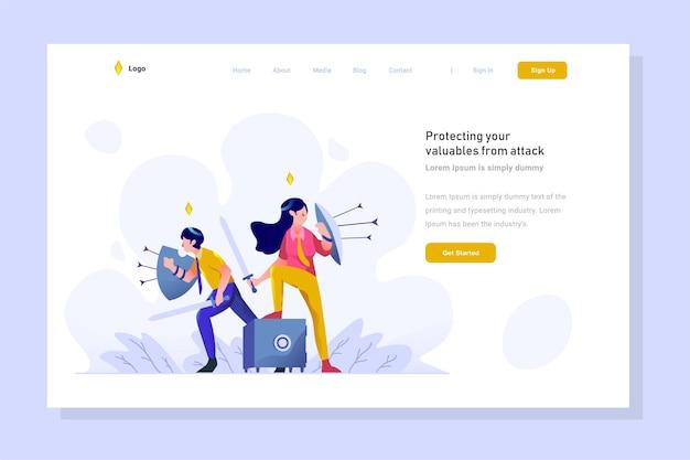 Ilustração da página de destino homem de finanças protegendo dinheiro do estilo de design plano de internet cibernética