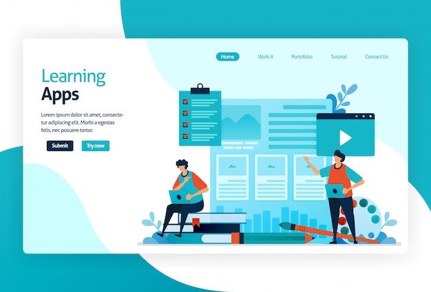 Ilustração da página de destino para aplicativos de aprendizagem