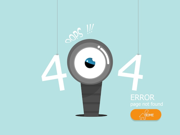 Ilustração da página de erro 404 oops não encontrada design plano de vetor