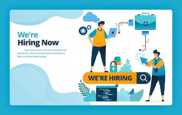 Ilustração da página inicial da contratação dos melhores funcionários e funcionários com promoções e anúncios de emprego nos mecanismos de pesquisa