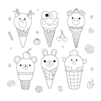 Ilustração da página para colorir de sorvetes e sobremesas de animais fofos