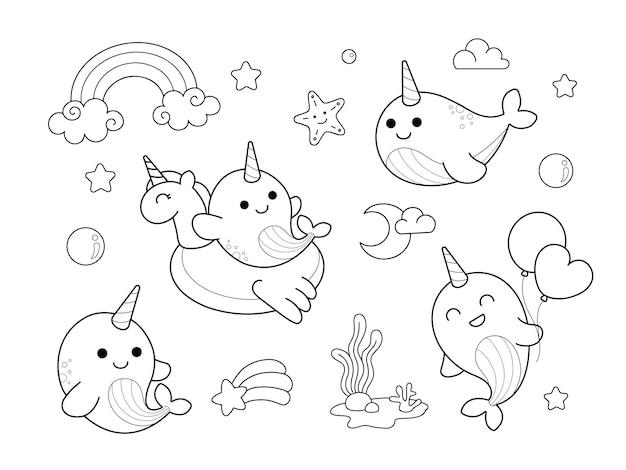 Ilustração da página para colorir desenho bonito do unicórnio de narval