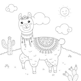 Ilustração da página para colorir do cute llama