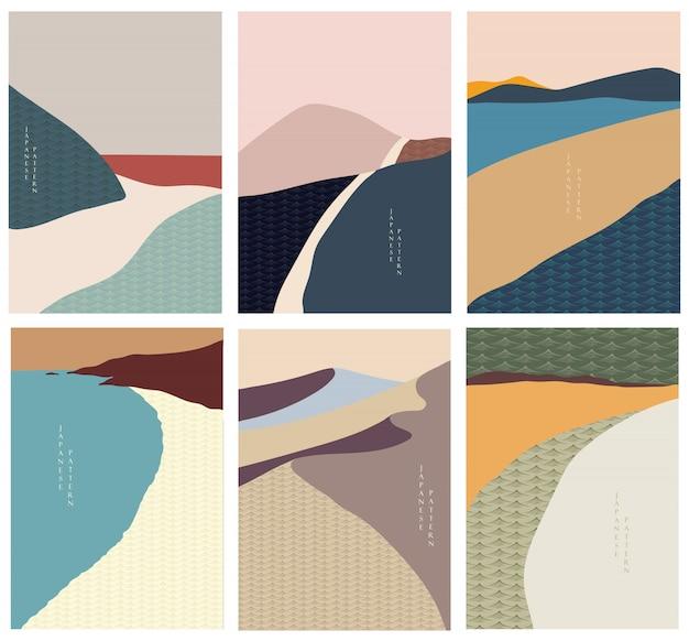 Ilustração da paisagem com estilo de onda japonesa. arte abstrata, floresta da montanha, ilustração do deserto.