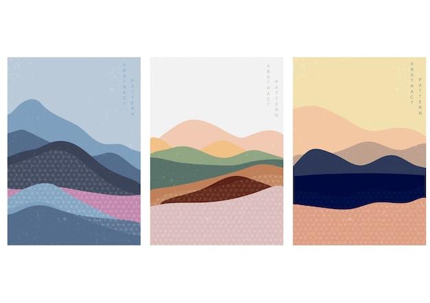 Ilustração da paisagem com estilo japonês