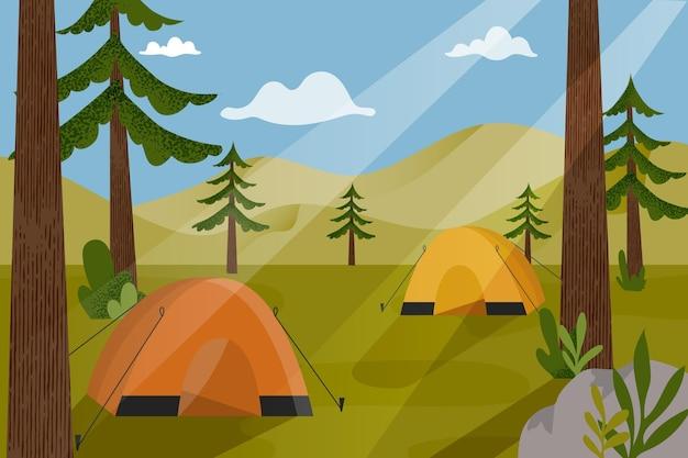 Ilustração da paisagem da área de acampamento com barracas