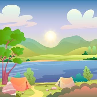Ilustração da paisagem da área de acampamento com lago