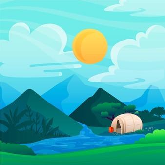 Ilustração da paisagem da área de acampamento com rio