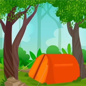Ilustração da paisagem da área de acampamento com tenda