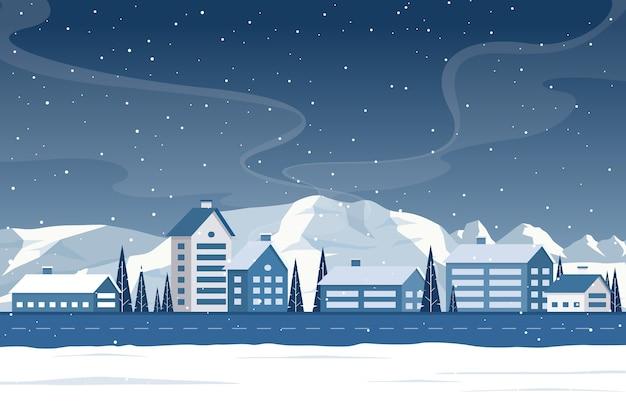 Ilustração da paisagem da casa rural da neve do pinho da neve do inverno da montanha Vetor Premium