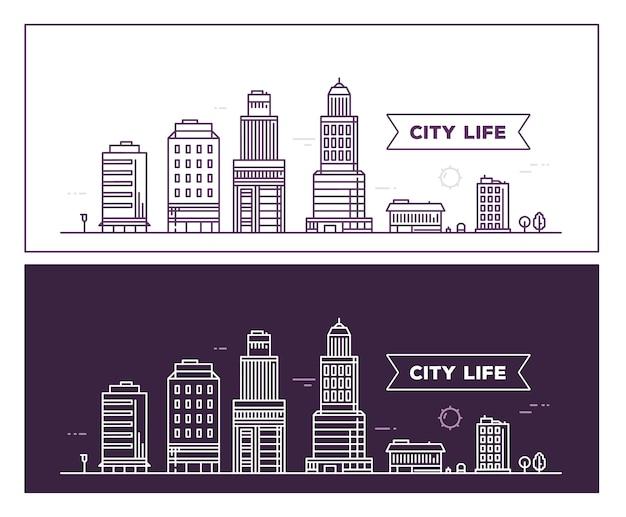 Ilustração da paisagem da cidade em preto e branco
