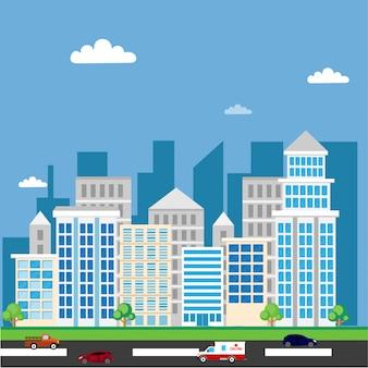 Ilustração da paisagem da cidade
