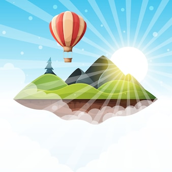Ilustração da paisagem da ilha dos desenhos animados. abeto, montanha, sol, colina,