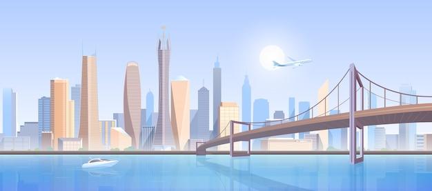 Ilustração da paisagem da ponte da cidade.