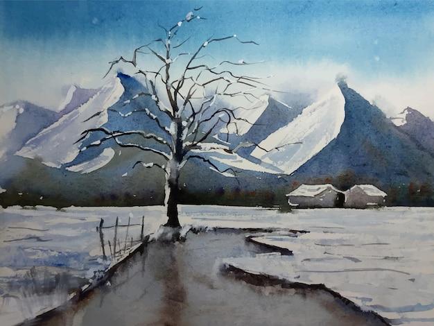 Ilustração da paisagem da temporada de inverno com vista para a montanha