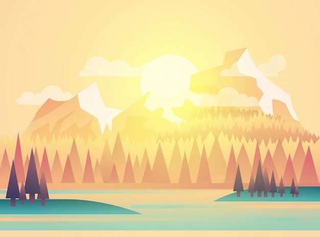 Ilustração da paisagem de belos campos com um amanhecer, colinas amarelas, céu de cor brilhante, no estilo cartoon plana