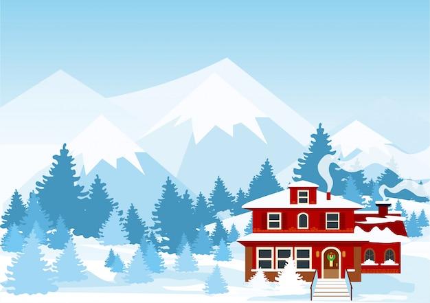 Ilustração da paisagem de inverno com montanhas e cor vermelha cote coberto de neve na floresta.