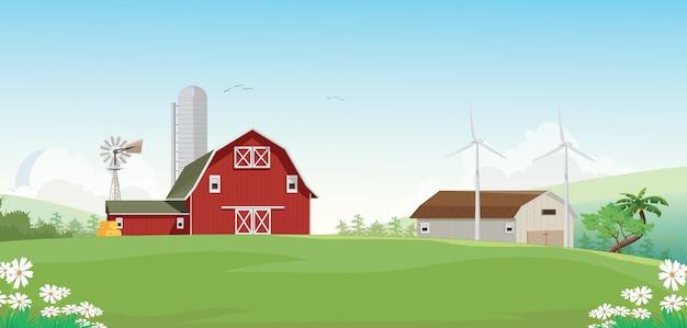 Ilustração da paisagem de montanha com celeiro fazenda vermelha