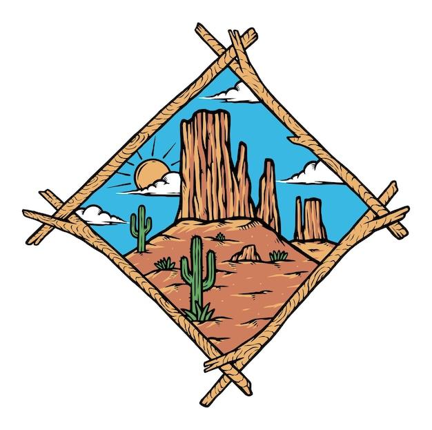 Ilustração da paisagem do deserto ocidental