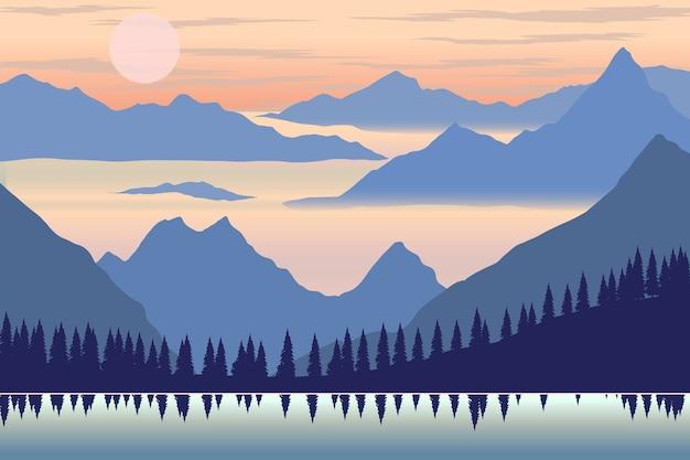 Ilustração da paisagem montanhosa em estilo simples