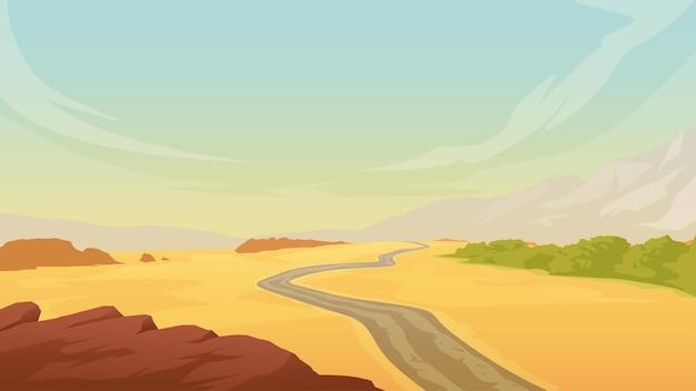 Ilustração da paisagem quente do deserto com cordilheira e estrada