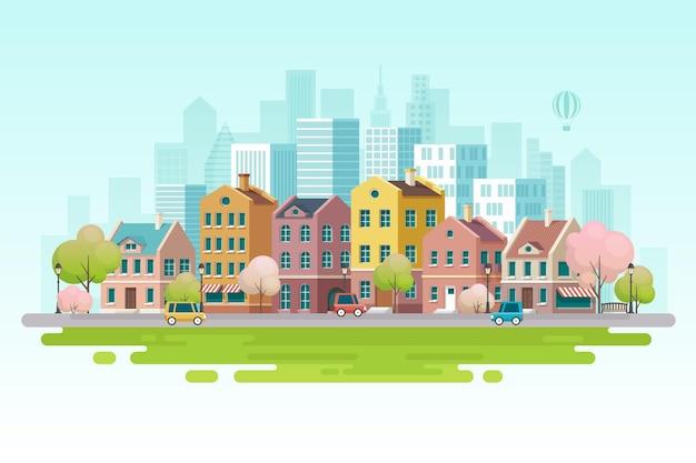 Ilustração da paisagem urbana da primavera