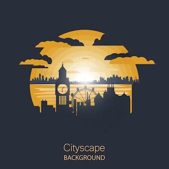 Ilustração da paisagem urbana. silueta, de, londres
