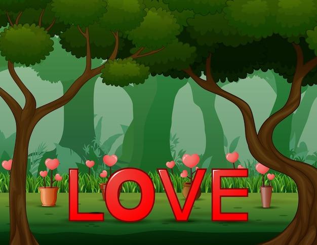 Ilustração da palavra amor em vermelho no fundo da floresta