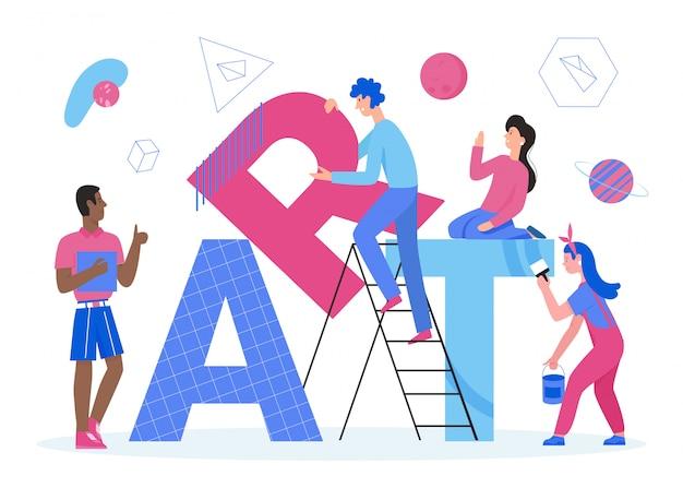 Ilustração da palavra arte. desenho de uma equipe de design plano minúsculo, pessoas que criam e trabalham juntas, personagens de artistas pintam letras grandes, design de conceito de arte criativa com elemento de decoração isolado