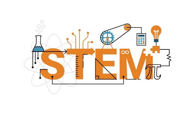 Ilustração da palavra de educação stem (ciência, tecnologia, engenharia, matemática)