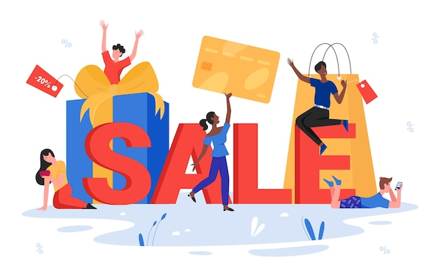 Ilustração da palavra de venda. cliente feliz pessoas segurando um cartão de crédito, pequenos personagens compradores apreciando as compras, ao lado de letras de venda, tipografia
