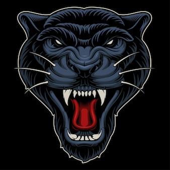 Ilustração da pantera. projeto do mascote do esporte em fundo escuro. Vetor Premium