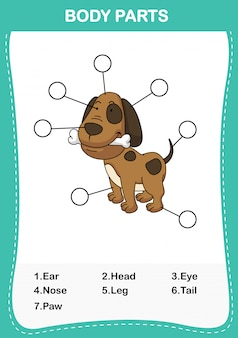Ilustração da parte do corpo do vocabulário do cão, escreva o número correto de partes do corpo