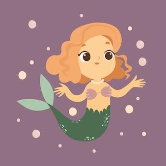 Ilustração da pequena sereia no mar