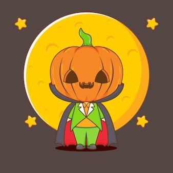Ilustração da personagem abóbora halloween monste chibi