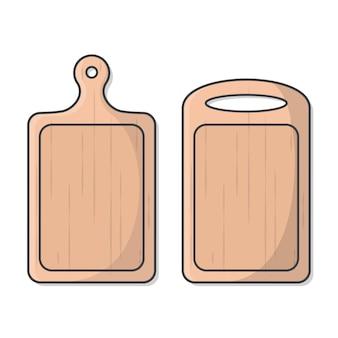 Ilustração da placa de corte de madeira. utensílios de cozinha para cozinhar Vetor Premium