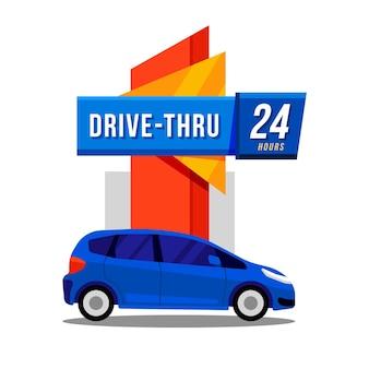 Ilustração da placa de drive thru
