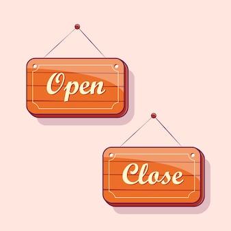 Ilustração da placa de sinalização de madeira aberta e fechada
