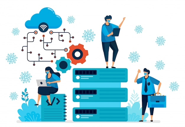 Ilustração da plataforma de computação em nuvem para dar suporte ao novo trabalho normal. tecnologia de banco de dados para pandemia de covid-19. o design pode ser usado para landing page, site, aplicativo móvel, cartaz, panfletos, banner