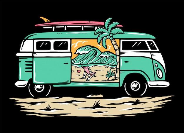Ilustração da praia no meu carro